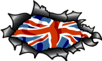 Ripped Torn Carbon Fibre Fiber Design With Union Jack British Flag Motif External Vinyl Car Sticker 150x90mm